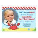 crab birthday invitations nautical 1st birthday