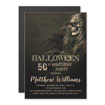 creepy hair skull halloween 50th birthday party magnetic invitation