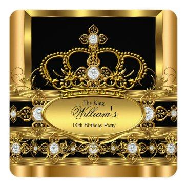 crown king prince queen royal gold diamond party 2 invitations