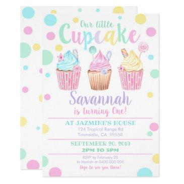 cupcake 1st birthday invitation our little cupcake