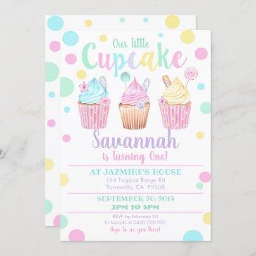 cupcake 1st birthday invitation our little cupcake