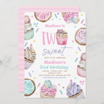 cupcake 2nd birthday party two sweet candy party invitation