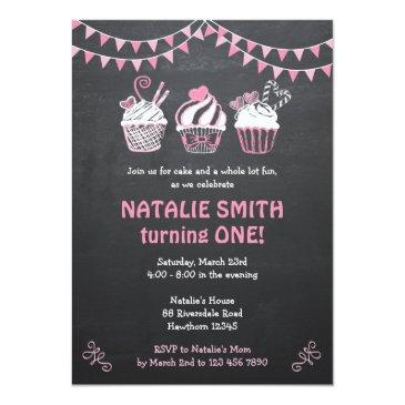 cupcake invitation / chalkboard cupcake invitation