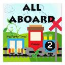 custom all aboard train party invitations
