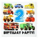 custom boy's 2nd birthday construction truck party invitation