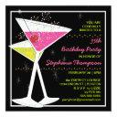 custom martini cocktail birthday party invitation