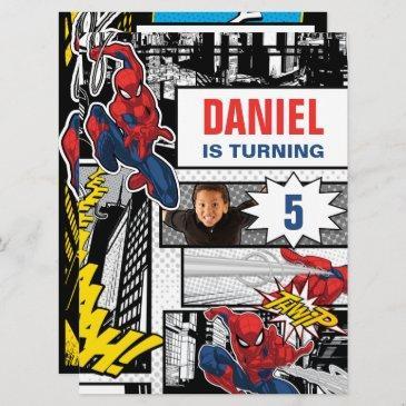 custom photo frame spider-man birthday invitation