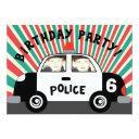 custom photo police car birthday invitations