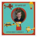 custom photo retro pilot birthday invitation