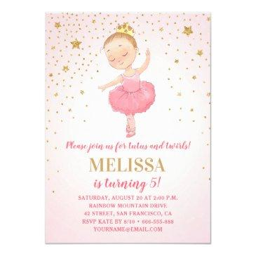 cute ballerina watercolor pink gold girl birthday invitation