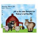 cute barnyard farm animals 1st birthday party invitations