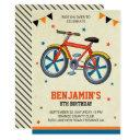 cute bicycle kids birthday party invitations