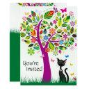 cute black cat and flower tree birthday invitation