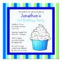 cute blue sprinkle cupcake birthday boy invite