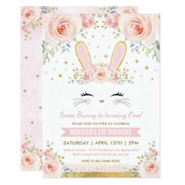 cute blush floral bunny rabbit birthday party invitation