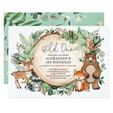 cute botanical woodland animals wild one birthday invitation