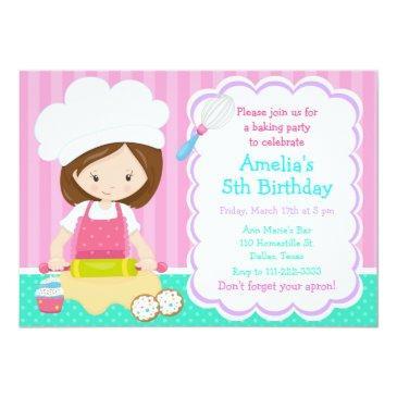 cute brunette girl baking birthday party invitation