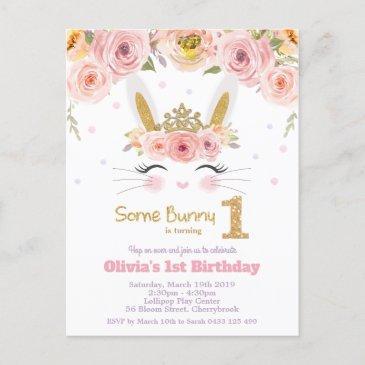 cute bunny rabbit 1st birthday pink floral invitation postinvitations