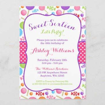 cute candy sweet 16 birthday party invitation