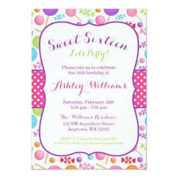 cute candy sweet 16 birthday party invitations