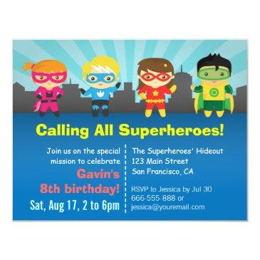 cute colourful superhero birthday party invitation