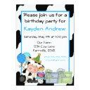 cute cow boys birthday invitations