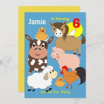 cute farm animals themed kids birthday party invitation