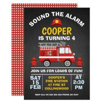 cute fire engine chalkboard birthday invitation