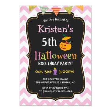 cute girly chevron kid's halloween birthday party invitation