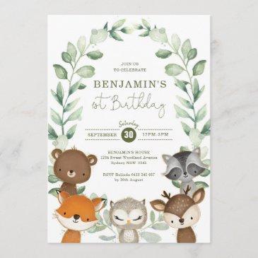 cute greenery woodland animals 1st birthday party invitation