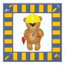 cute handyman cartoon teddy bear birthday party invitation