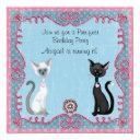 cute kitty cat birthday invitation for girls