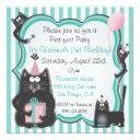 cute kitty cat birthday party invitations