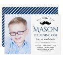 cute little man mustache first birthday party invitation