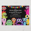 cute little monster bash birthday party invitation