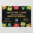 cute little monster bash boy birthday invitation