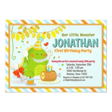 cute little monster first birthday invitations