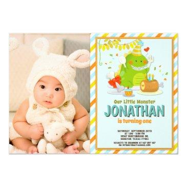 cute little monster first birthday photo invitation