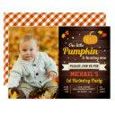 cute little pumpkin photo 1st birthday invitations