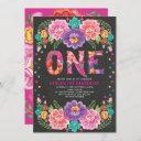 cute mexican floral fiesta 1st birthday chalkboard invitation
