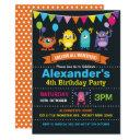 cute monster birthday party chalkboard invitation