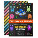 cute monsters and aliens birthday party invitation