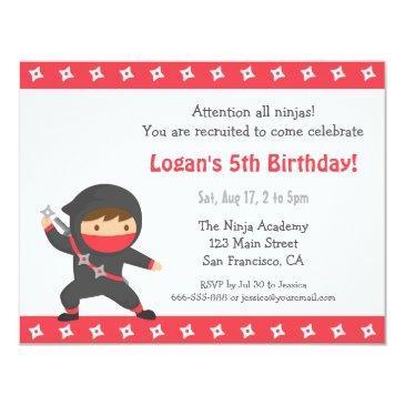 cute ninja kids birthday party invitations