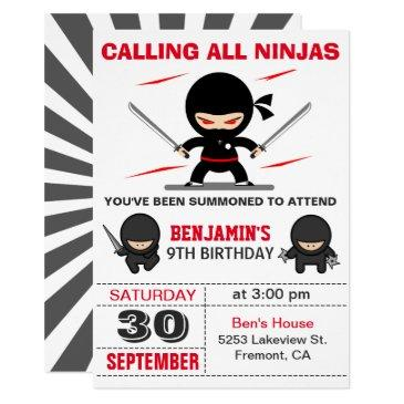 cute ninja warrior kids birthday party invitation