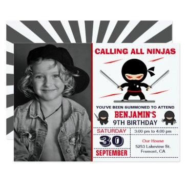 cute ninja warrior kids photo birthday party invitation