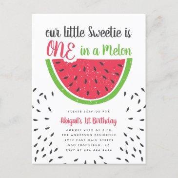 cute one in a melon watermelon kids 1st birthday invitation postinvitations