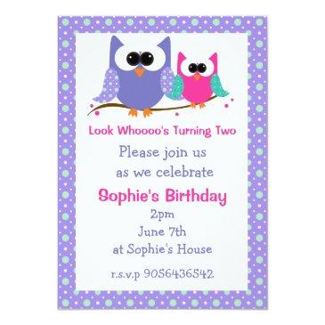 cute owls kids birthday party invitations
