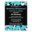 cute panda birthday sleepover party invitations