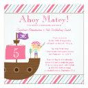 cute pink girl's pirate birthday party invitations