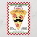 cute pizza party kid's birthday invitation